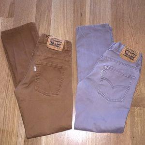 Levi's 511 Sueded Slim Fit Pants Size 12 Reg 2 Pk.